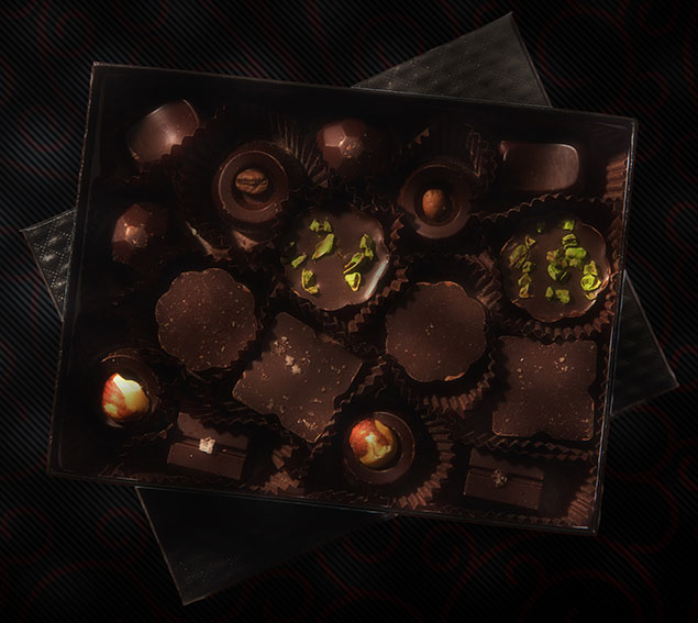 Product Shot for Pitch Dark Chocolate - Box of Bonbons